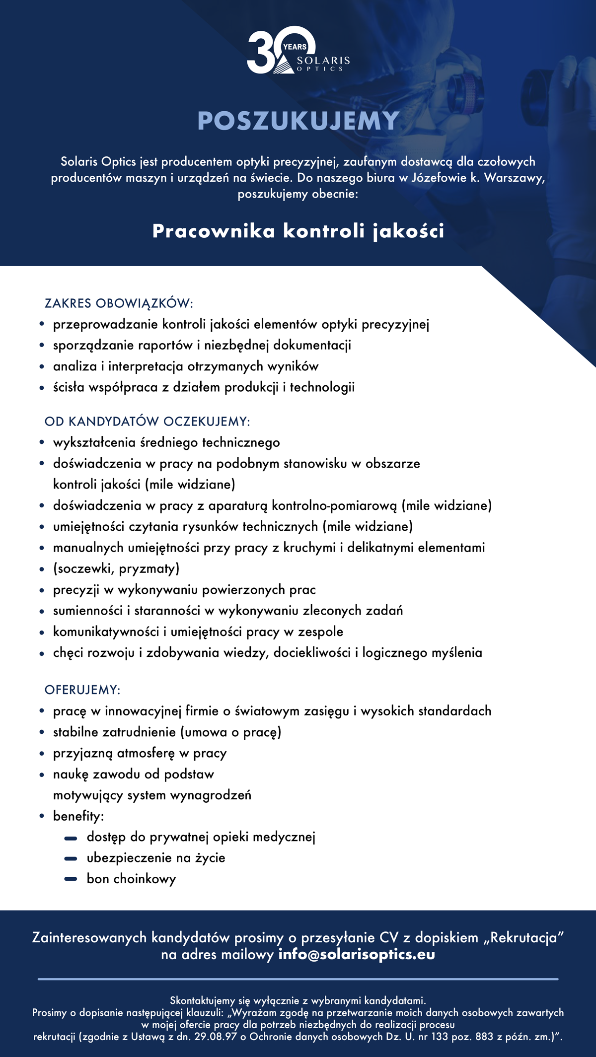 Praca - Pracownik kontroli jakości - Solaris Optics